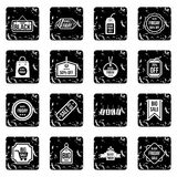 Label black friday icons set, grunge style. Label black friday icons set. Grunge illustration of 16 label black friday icons for web stock illustration