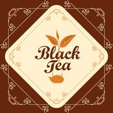Label for black tea with sprig of tea and teapot. Vector label for black tea decorated with a sprig of tea and teapot in curly frame with swirls on brown Royalty Free Stock Image