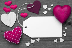 Label, Black And White, Pink Hearts, Copy Space Royalty Free Stock Image