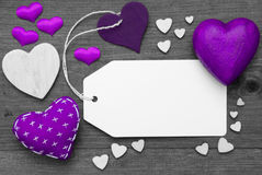 Label, Black And White, Purple Hearts, Copy Space Stock Images