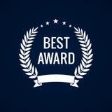 Label blanc de laurier de la meilleure récompense illustration stock