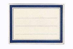 Label in a blue and white frame. Rectangular label with  a dark blue and white frame with a central white address or message area Royalty Free Stock Photography