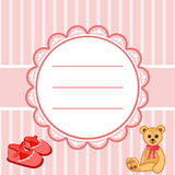 Label booties. Baby card cute, baby invitation, frame for text cute animal, cartoon. Vector illustration royalty free illustration