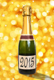 2015 on a label of a bottle of Champagne Stock Photo