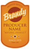 Label for brandy. Label in curly frame for brandy with ribbon and crown royalty free illustration