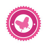 Label with butterfly breast cancer Stock Photography
