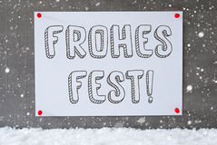 Label On Cement Wall, Snowflakes, Frohes Fest Means Merry Christmas Stock Photos