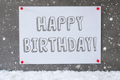 Label On Cement Wall, Snowflakes, Text Happy Birthday Royalty Free Stock Photography