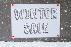 Label On Cement Wall, Snowflakes, Text Winter Sale Stock Photography