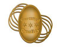 Label for certified quality. In gold design Stock Photo