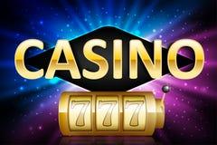 Label chanceux de loto de casino d'or brillant de gros lot avec le cadre au néon Jeu de conception de gagnant de gros lot du casi Image libre de droits