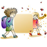 Label with cheerful schoolkids Royalty Free Stock Photography