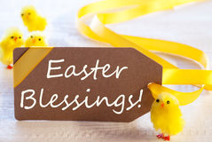 Label With Chicks, Text Easter Blessings Stock Photo
