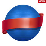 Label of Classic blue Fitball with ribbon Royalty Free Stock Image