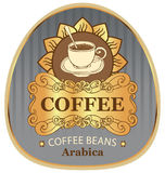 Label for coffee beans arabica with cup and sun Stock Photography