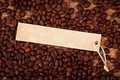 Label on coffee beans Royalty Free Stock Images
