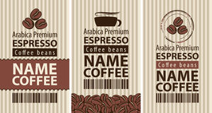 Label coffee with coffee beans and cup Stock Images