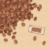 Label coffee with coffee beans Stock Photo