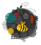 Label coloré avec l'abeille et les fleurs Photographie stock libre de droits
