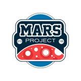 Label coloré avec la planète et l'inscription rouges abstraites Projet de Mars Mission d'exploration, voyage dans l'espace plat illustration libre de droits