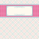Label on color checked background Royalty Free Stock Photo