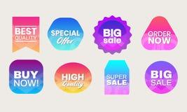 Label2. Colorful gradients labels for promotion. Quality Best sale Special Offer Big sale order now vector illustration