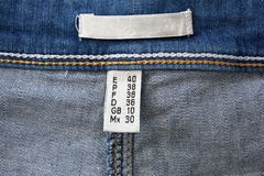 Label on the composition of jeans Stock Image