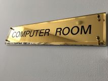 Label computer room. Text of the label computer room background Stock Photo
