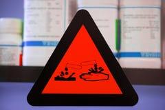 Label corrosive chemicals Stock Image