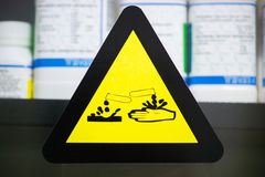 Label corrosive chemicals Royalty Free Stock Photos