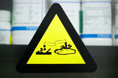 Label corrosive chemicals Stock Photography