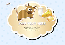 Label with cow. Milk, cheese and butter. Vector illustration EPS8 Royalty Free Stock Photo