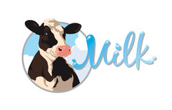 Label with a cow. Label with the image of a cow and the words milk Stock Photography