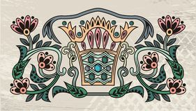 Label with Crown and Flowers Stock Photo