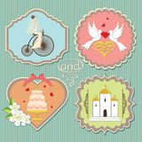 Label with cute wedding elements Stock Photography