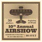 Label d'affiche d'airshow de vintage avec l'avion illustration libre de droits