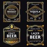 Label d'alcool de cru Whiskey d'art déco, signe de tequila, rétro métier et illustration de vecteur de labels de bière d'ager illustration libre de droits