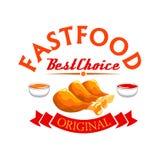 Label d'aliments de préparation rapide Pattes de poulet frit croustillantes illustration de vecteur