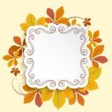 Label d'automne, cadre carré avec les feuilles jaunes Image stock