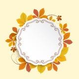 Label d'automne, cadre de cercle avec les feuilles jaunes Images stock