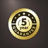 label d'or d'affaires de garantie de 5 ans Image stock