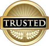 Label d'or de confiance de bannière de produit illustration stock