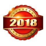 Label d'or de la bonne année 2018 pour le timbre Photographie stock
