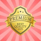 Label d'or de la meilleure qualité 100 complété par l'or d'étoile Image stock