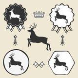 Label d'emblème de symbole de silhouett de renne de Noël Photographie stock libre de droits