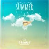 Label d'heure d'été avec l'avion de papier Photo libre de droits
