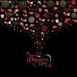 Label d'icône de rose d'or de carte de voeux de jour de valentines illustration libre de droits