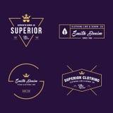 Label d'insigne de denim de vintage, ligne classique d'habillement Images stock