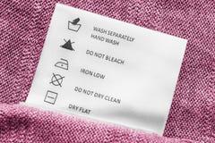 Label d'instructions de lavage image libre de droits
