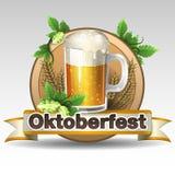 Label d'Oktoberfest Fond de drapeau de la Bavière avec le rouleau pour le texte  d'isolement sur le blanc Photographie stock